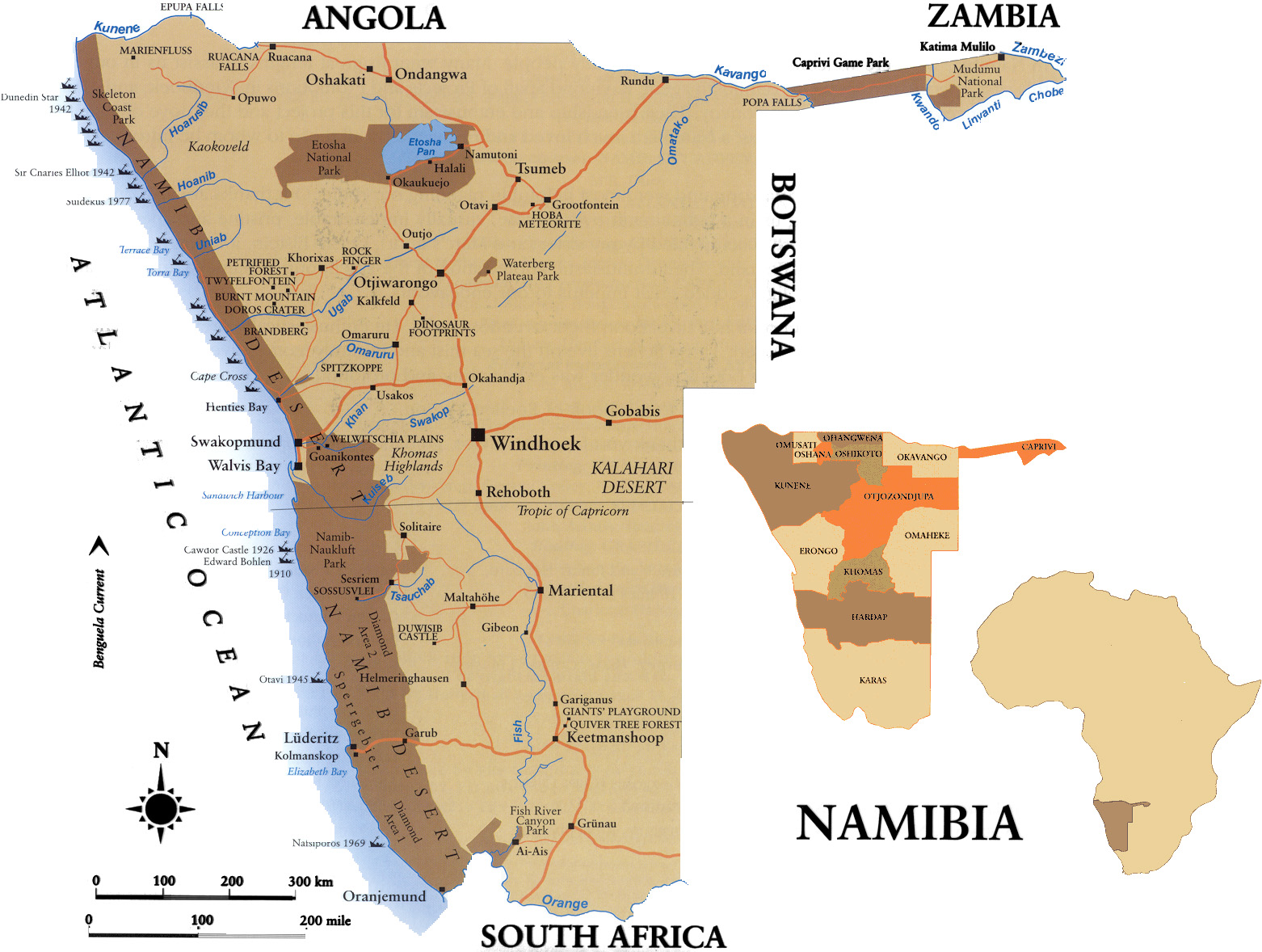 All Round Namibia Map - Namibia map